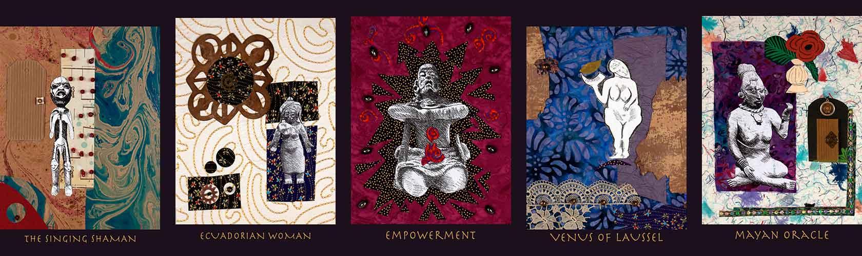 Selection of Belinda Gore's collage artwork showing ritual postures.