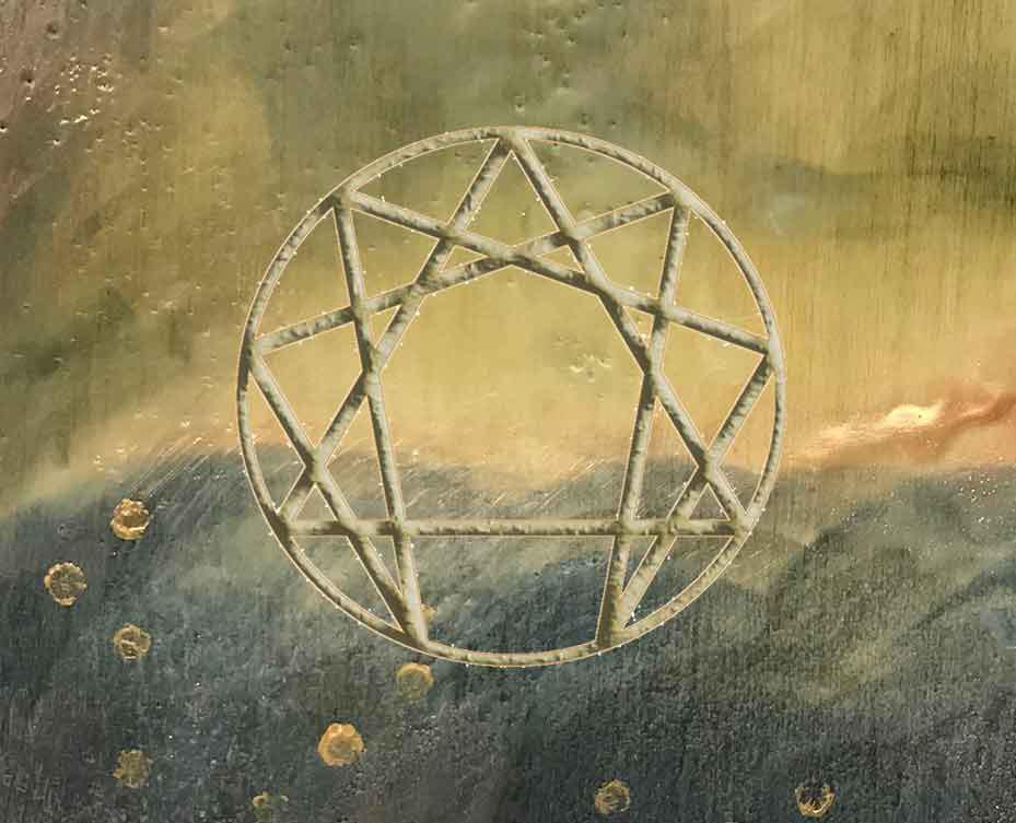 Enneagram symbol on encaustic artwork